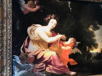 """MICHEL DORIGNY """"Terpsichore, muse de la danse et la poésie légère"""" cira 1640, huile sur 6 panneaux de chêne parquetés, 81X100cm, GALERIE ALEXIS BORDES"""