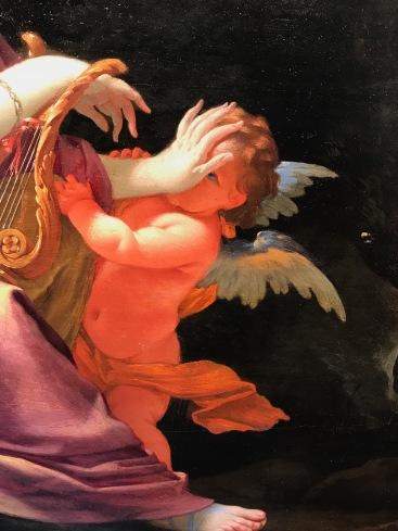 """détail MICHEL DORIGNY """"Terpsichore, muse de la danse et la poésie légère"""" cira 1640, huile sur 6 panneaux de chêne parquetés, 81X100cm, GALERIE ALEXIS BORDES"""
